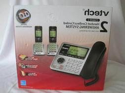 2 handset cordless corded phone digital answering