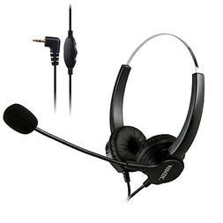 AGPtEK 2.5mm Dual Ear Call Center Telephone Headphone, 6FT N
