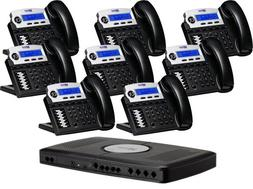 X16, Small Office Phone System with 8 Charcoal X16 Telephone