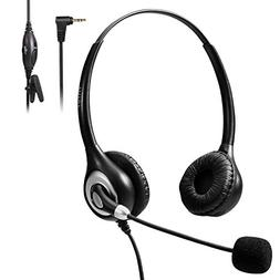 Bingle 2.5mm Binaural Telephone Headset with Noise Cancellin
