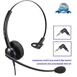 2.5mm Headset for Telephone Call Center Single Ear with Nois