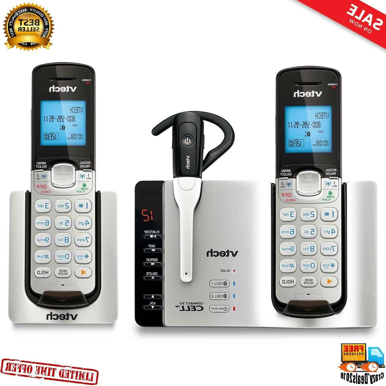 VTech DS6671-3 Expandable Cordless Bluetooth Silver/Black with and 1