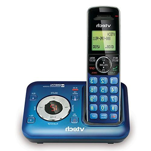 VTech Cordless Phone Answering ID, 5 Handsets, Wall Mountable, Blue