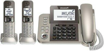 PANASONIC Corded Phone Answering Machine and Touch Call – 2 Handsets