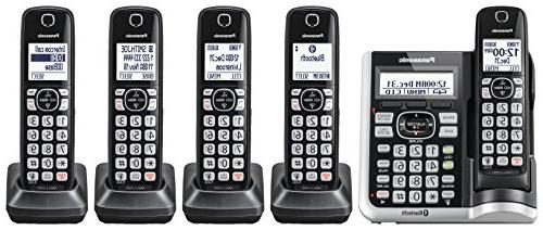 PANASONIC Link2Cell Bluetooth Cordless Phone System Assistant, and Answering Machine. DECT Expandable Cordless 5 Handsets - KX-TGF575S