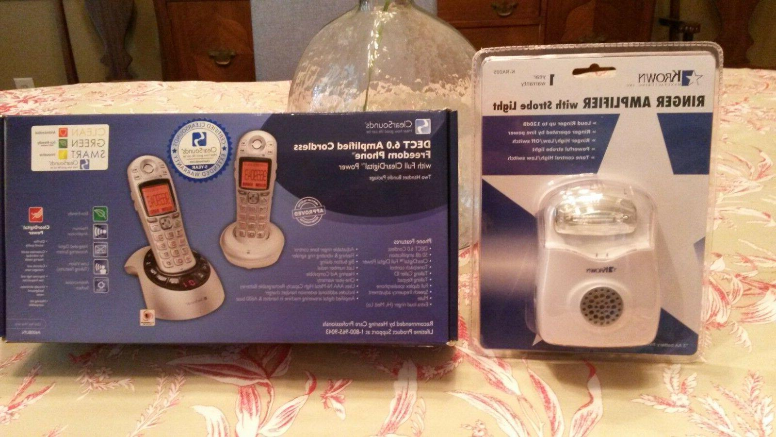 new 2 amplified cordless phones with strobe