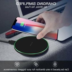 Qi Wireless Charger Pad Cordless Metal For i Phone X Samsung