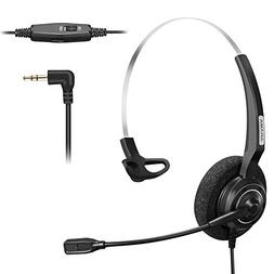 Arama 2.5mm Phone Headset w/Noise Canceling Boom Mic in-line